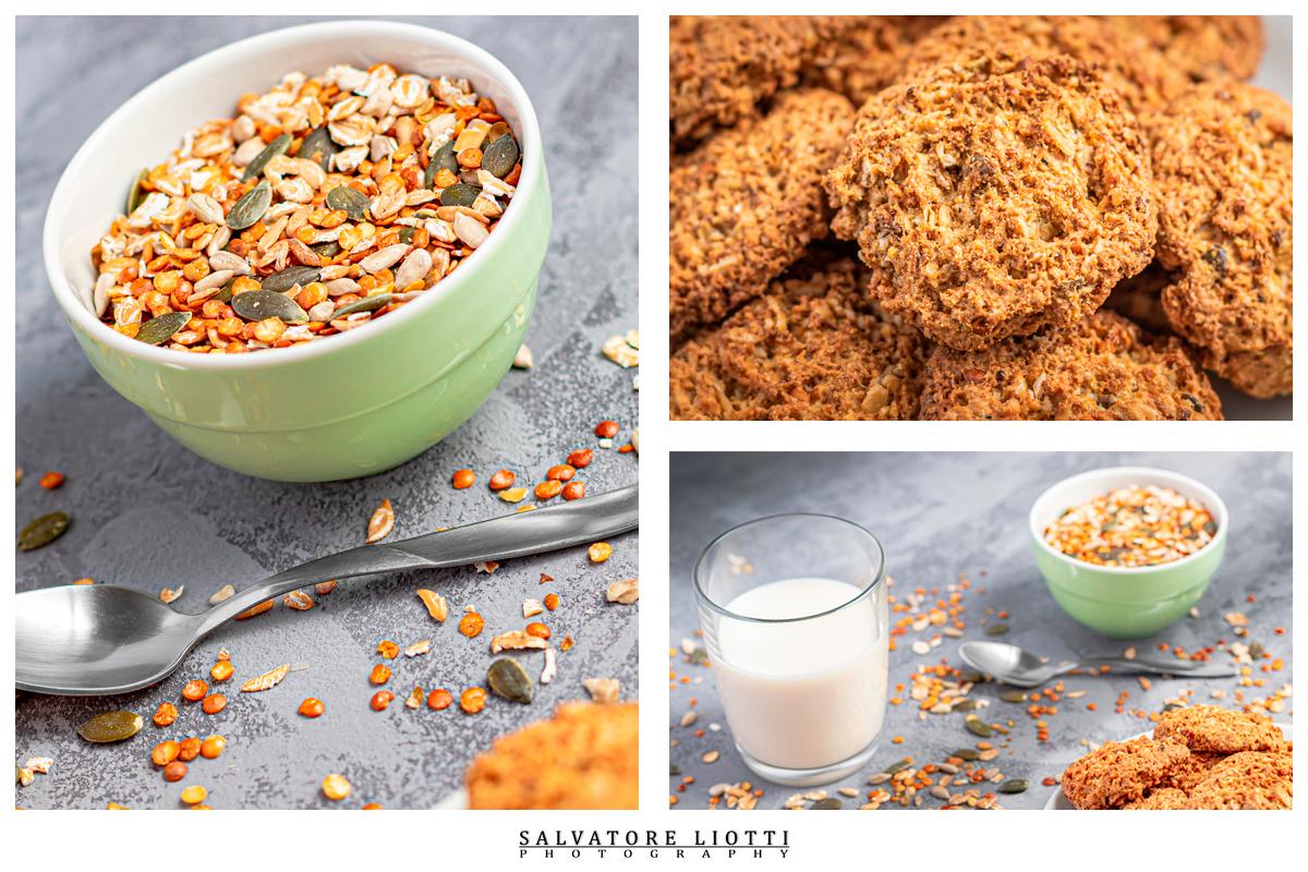 Tavola colazione con latte biscotti e mix semi